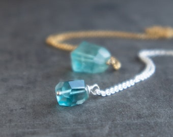 Blue Fluorite Nugget Necklace
