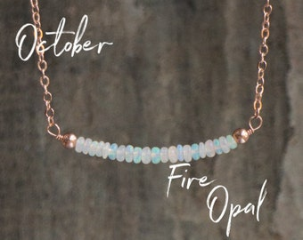 Opal Bar Necklace, October Birthstone Gift for Wife