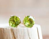 Peridot Earrings Studs, Birthday Gifts for Her, Dainty Earrings, Gold or Sterling Silver Stud Earrings, Gemstone Earrings, August Birthstone