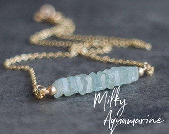 Square Bar Necklace - Aquamarine - March Birthstone