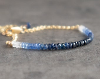 Ombre Blue Sapphire Bracelet, Mother's Day Gift for Her, September Birthstone