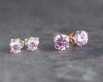 CZ Pink Topaz Stud Earrings in Gold or Silver