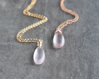 Rose Quartz Teardrop Pendant Necklace