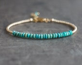 Turquoise Bracelet, Sleeping Beauty Turquoise Jewelry, Gift for Women, December Birthstone Gift for Wife, Silver, Rose Gold Bracelet