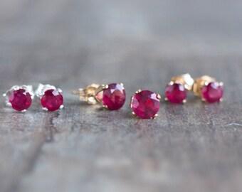 Ruby Stud Earrings - July Birthstone