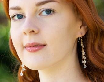 Rainbow Moonstone Dangle Earrings - June Birthstone