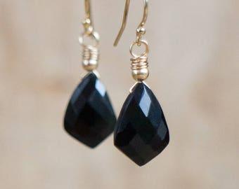 Black Onyx Earrings, Gift for Her, Stone Earrings, Geometric Earrings, Gold, Silver, Drop Earrings, Onyx Jewelry, Black Earrings, Dangle