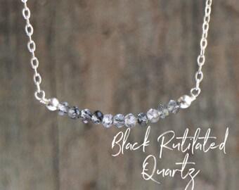 Black Rutilated Quartz Bar Necklace