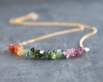 Raw Watermelon Tourmaline Necklace - October Birthstone