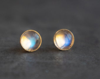 Moonstone Stud Earrings in 24K Gold Vermeil Bezel Set Posts