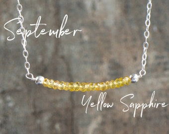 Yellow Sapphire Necklace, Gemstone Necklace, September Birthstone Necklace, Birthday Gift for Her, Dainty Gemstone Jewelry, Sapphire Jewelry