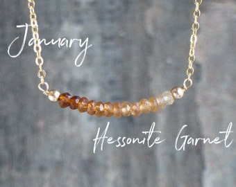 Hessonite Garnet Ombre Bar Necklace