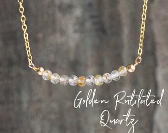 Golden Rutilated Quartz Bar Necklace