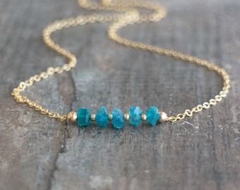 Neon Blue Apatite Necklace