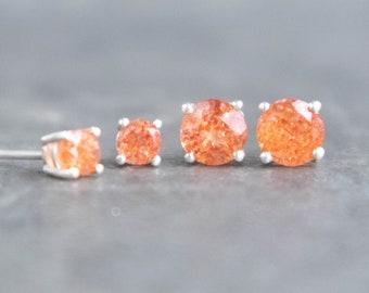 Sunstone Silver Stud Earrings - Good Luck Stone