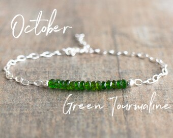 Green Tourmaline Bracelet - Verdalite Bracelet - October Birthstone