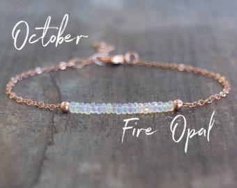 Fire Opal Bracelet - October Birthstone Bracelet