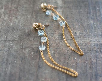 Aquamarine Gold Chain Earrings - March Birthstone