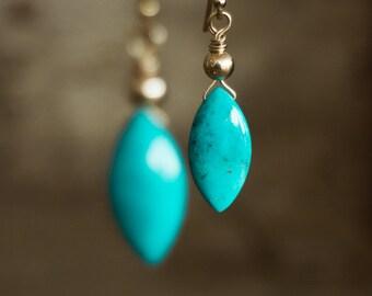 Genuine Arizona Turquoise Drop Earrings - December Birthstone