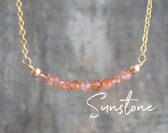 Sunstone Necklace, Delicate Necklace, Good Luck Gift for Her, Sunstone Jewelry, Gemstone Necklace, Crystal Necklace, Chakra Jewelry