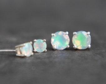 Fire Opal Stud Earrings in Sterling Silver - October Birthstone