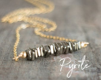 Pyrite Necklace, Bridesmaid Gifts, Gemstone Bar Necklace, Fools Gold Necklace, Pyrite Jewelry, Gift for Girlfriend, Crystal Necklace