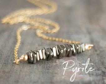 Square Bar Necklace - Pyrite