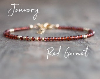 Red Garnet Bracelet - January Birthstone