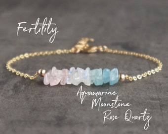 Fertility Bracelet, Aquamarine, Moonstone and Rose Quartz Healing Crystal Bracelet