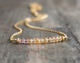 Imperial Topaz Bar Necklace, November Birthstone