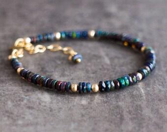 Ethiopian Black Welo Opal Bracelet - October Birthstone