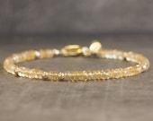 Citrine Bracelet, November Birthstone Gift for Mom, Gemstone Jewelry