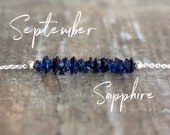 Raw Sapphire Bar Necklace, September Birthstone Jewelry Gift for Girlfriend