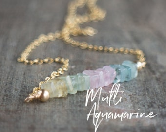 Square Bar Necklace - Multi Aquamarine - March Birthstone
