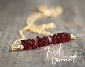 Square Bar Necklace - Red Garnet - January Birthstone