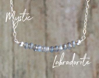 Labradorite Bar Necklace-Silver Coated Labradorite