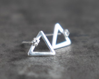 Silver Open Triangle Stud Earrings with Cz Diamonds