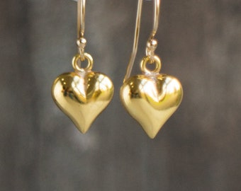 Gold Heart Small Drop Earrings