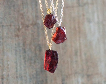 Raw Garnet Necklace - January Birthstone Necklace