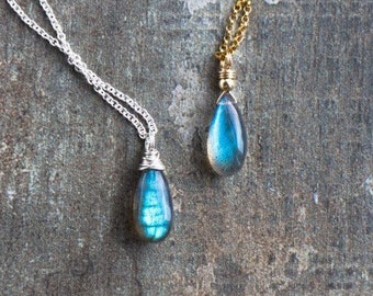 Blue Labradorite Teardrop Necklace