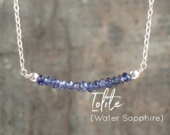 Iolite Bar Necklace - Water Sapphire Necklace