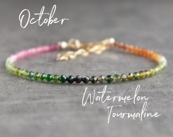 Watermelon Tourmaline Bracelet - October Birthstone