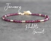 Rhodolite Garnet Bracelet, Raspberry Garnet Jewelry Gold or Sterling Silver, Rose Gold Bracelet, January Birthstone Bracelet for Women