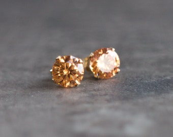 Cognac CZ Stud Earrings in Sterling Silver or 14K Gold Filled