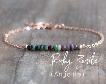 Ruby Zoisite Bracelet - Anyolite Bracelet