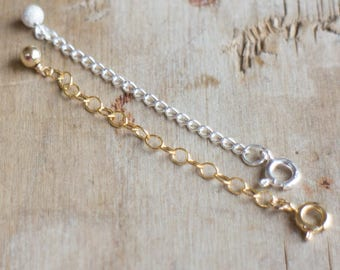 14K Gold Fill or Sterling Silver Necklace Extender Chain