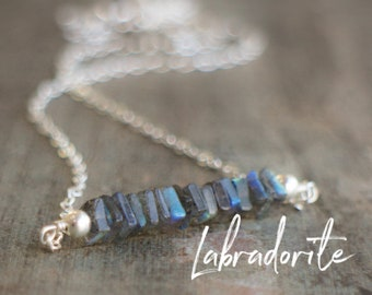 Square Bar Necklace - Labradorite