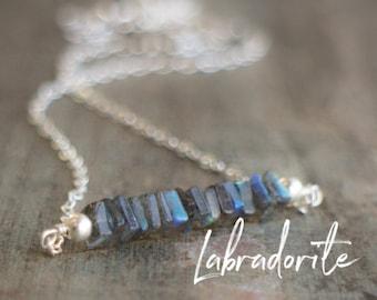 Labradorite Bar Necklace, Bridesmaid Gifts, Layering Necklace