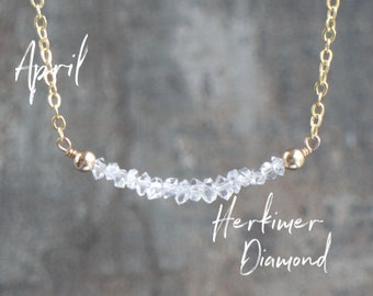 Raw Diamond Necklace, Herkimer Diamond Crystal Necklace, April Birthstone Necklace, Birthday Gifts, Crystal Choker, Minimalist Gift for Her