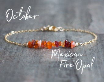 Mexican Fire Opal Bracelet Raw Crystal Jewelry October Birthday Gifts For Her Birthstone